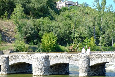 Travel Photo of the River Ardeche in southern France which is a Beautiful canoe and kayak destination for touristic activities with its Stunning landscape, sports activities and lots of possibilities for touristic Adventures. Standard-Bild
