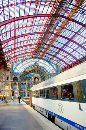 Antwerp, Belgium, May 2019, People going to trains at Antwerp Central Station in Belgian, Europe, which is the main station in the Antwerp.