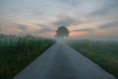 Soft colorful sunrise over a countryside farming area, creating an idyllic scenic landscape