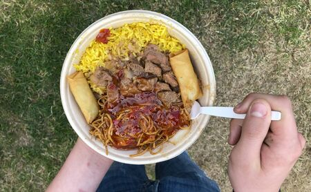 Street Food, Asian specialty with rice, noodles, meat, lumpia and other toppings from a festival food truck being eaten by hungry festival visitor Standard-Bild