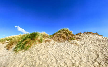 Beautiful landscape with a sand dune and a lonely cloud on the blue sky. High quality photo Фото со стока