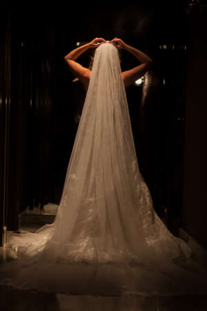 Beautiful bride in luxurious wedding dress in a dark hall. Beautiful bride with stylish make up and hair style. Young bride posing in white dress. Black and white. High quality photo