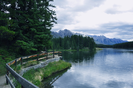 banff: Scenic mountain vista in Banff National park,Alberta,Canada. Stock Photo