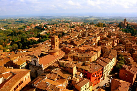 siena italy: Siena Italy from above and the Tuscan countryside. Stock Photo