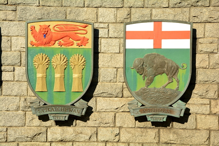 Coat of arms for Canadian provinces Saskatchewan and Manitoba.