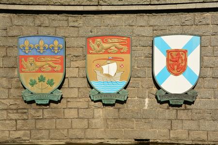 Coat of arms for Canadian provinces Quebec,New Brunswick and Nova Scotia