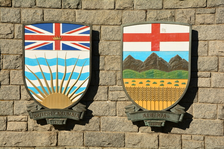 Coat of arms for Canadian provinces British Columbia and Alberta.