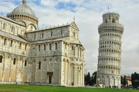 leaning tower of pisa: Leaning tower of Pisa,Pisa Italy.The Field of Miracles is the place to go.The tower,duomo,and the baptistery together in one place. Stock Photo