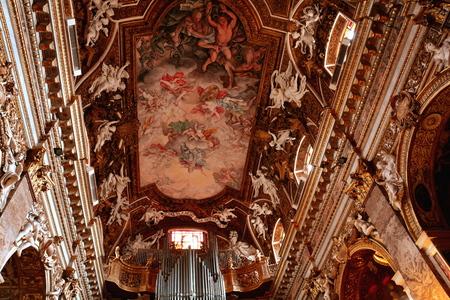bernini: The ceiling of Santa Maria della Vittoria Rome Italy,Rome has many churches,this one has awesome Bernini sculptures.