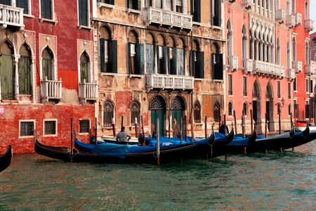 gondoliers: Gondolas on the GRAND CANAL in Venice Italy.