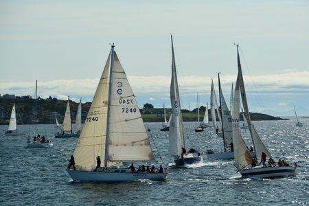 victoria bc: Victoria BC,Canada annual Swiftsure boat race at the starting line,May 2014.