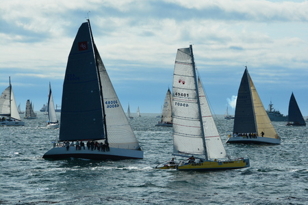 victoria bc: Victoria BC,Canada,annual Swiftsure yacht race lined up at the starting line.