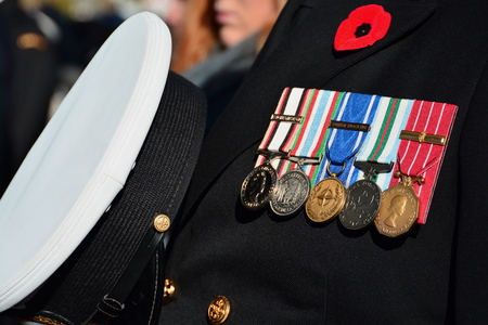 11th: Remembrance Day, November 11th,2014, Victoria BC, Canada.Honoring lost lives of Canadas fallen soldiers. Editorial