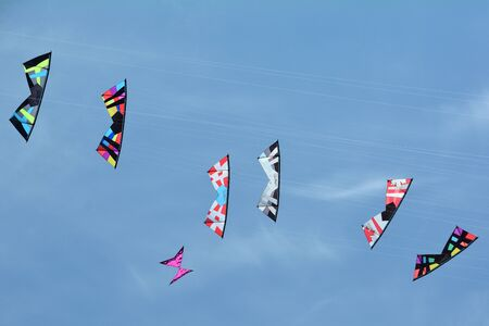 paper kites: Kites flying in unison trying to catch each other.