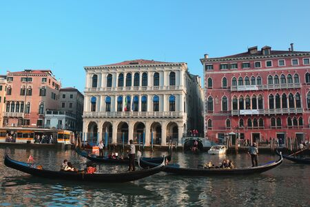 poling: Venice Italy,grand canal and gondolas and fancy hotels are yours to explore when in Venice. Editorial