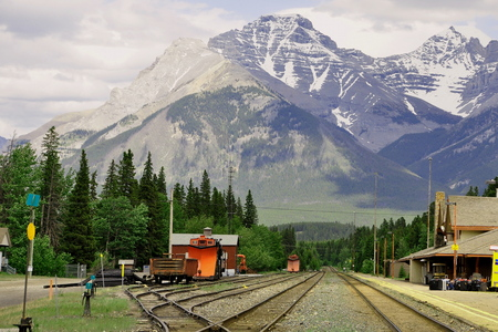 Banff National Park,May 2014.Train depot in Banff, Alberta, Canada.Come by plane car or rail to Banff, you will not be disappointed. Editorial