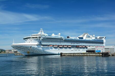victoria bc: Victoria BC,Ogden Point cruise terminal.Hundreds of cruise ships come to Victoria annually to enjoy Victorias fine city. Editorial