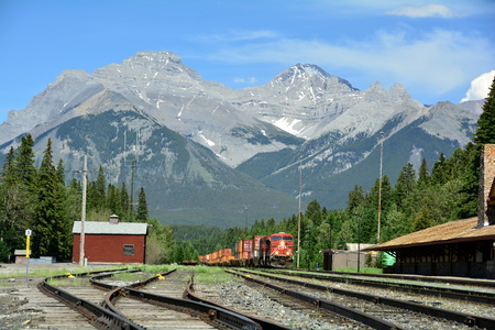 banff: Banff National Park,May 2014.Train depot in Banff, Alberta, Canada.Come by plane car or rail to Banff, you will not be disappointed. Editorial