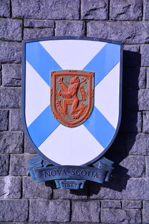scotia: Coat of arms for Canadian province of Nova Scotia. Stock Photo