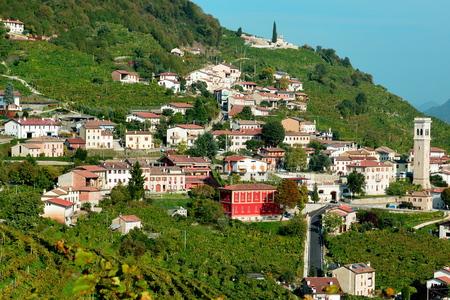 Country scene from the Prosecco highway near Conegliano Italy