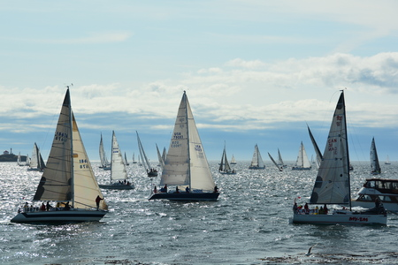 victoria bc: Victoria BC,the annual Swiftsure race takes place in late May.Here sailboats line up at the starting  line.Lets hope for wind. Editorial