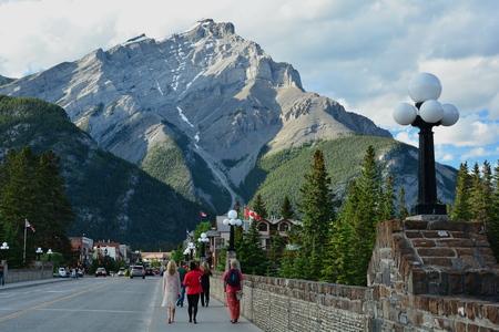 banff: Banff Alberta,Canada,Banff National Park.Mount Norquay and main street Banff. Editorial