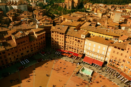il: Siena Italy and Il Campo seen from the bell tower.