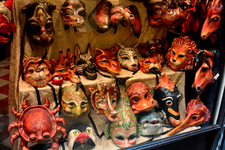 window display: Window display of masks in Venice Italy Stock Photo