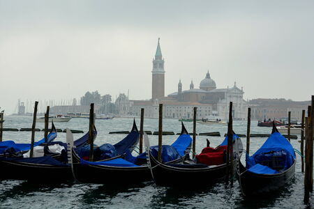 poling: Gondolas on the Grand Canal in Venice Italy