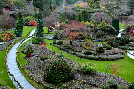 The sunken gardens at the Butchart Gardens in Victoria BC,Canada. Stock Photo