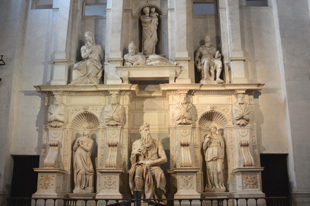 Michelangelos famous sculpture of Moses in San Pietro in Vincoli in Rome. Stock Photo