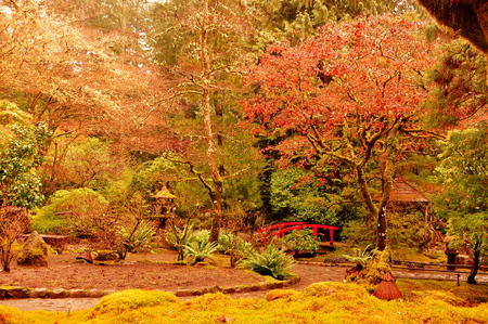 victoria bc: Japanese gardens at the Butchart Gardens in Victoria BC Stock Photo