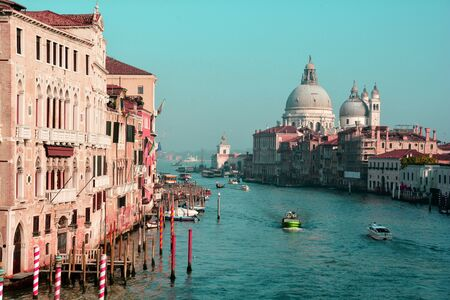 View of the grand canal in Venice Italy.