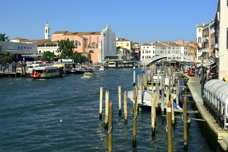 gondoliers: The grand canal in Venice Italy.Major waterway in Venice.