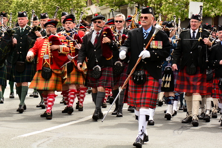 marchers: Highlands games parade in Victoria BC,2014.