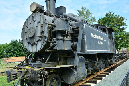 engine powered: Old train locomotive put out to pasture.