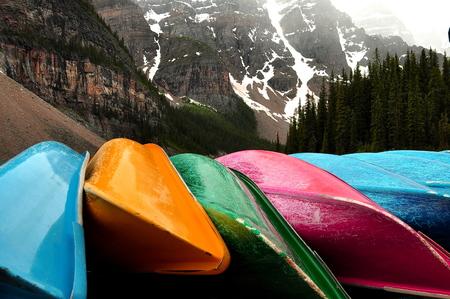 louise: Canoes at Moraine Lake at Lake Louise Alberta