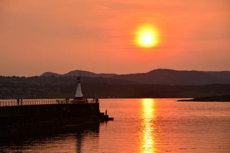 victoria bc: Sunset at Ogden Point, Victoria BC, Canada.