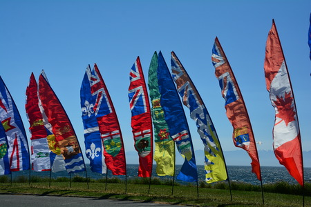 Colorful banners at the kite festival. Stok Fotoğraf