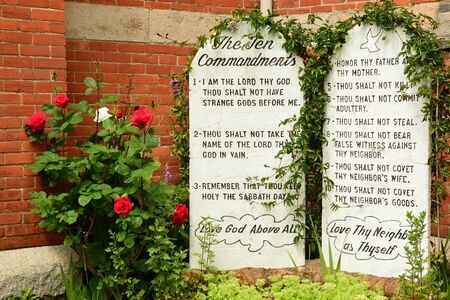 catholic church: Ten Commandments of God. Stock Photo