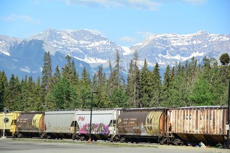 stock vista: Train through the Canadian Rockies.Banff National Park. Editorial