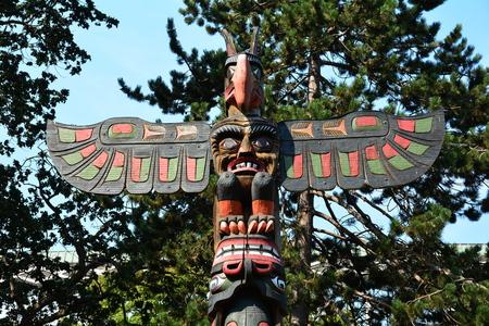 victoria bc: Totem,Thunderbird Park,Victoria BC,Canada. Stock Photo