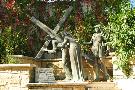 carrying the cross: Stations of the Cross,Station six.