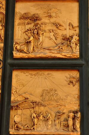 florence italy: Bronze door panels of the Baptistery in Florence Italy Stock Photo