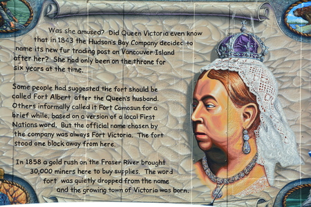 wall mural: How Victoria was named.Mural in Victoria tells how the city was named.
