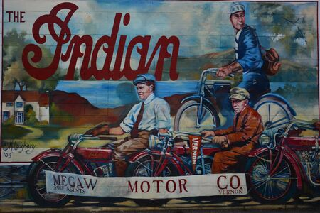 wall mural: Classic wall mural in Vernon BC of Indian motorcycles.