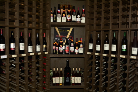 The wine rack with wine from the Okanagan Valley,Kelowna BC,Canada