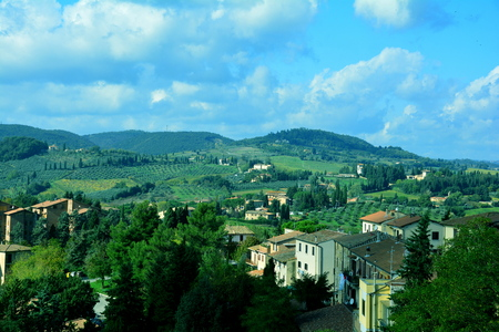 Italian countryside outside of San Gimignano, Tuscany Italy.