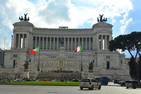 flagpoles: Vittorio Emanuele monument in Rome Italy