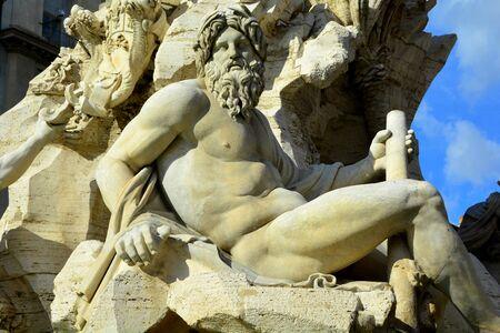 bernini: Roman statue at Piazza Navona in the fountain of four rivers by Bernini.